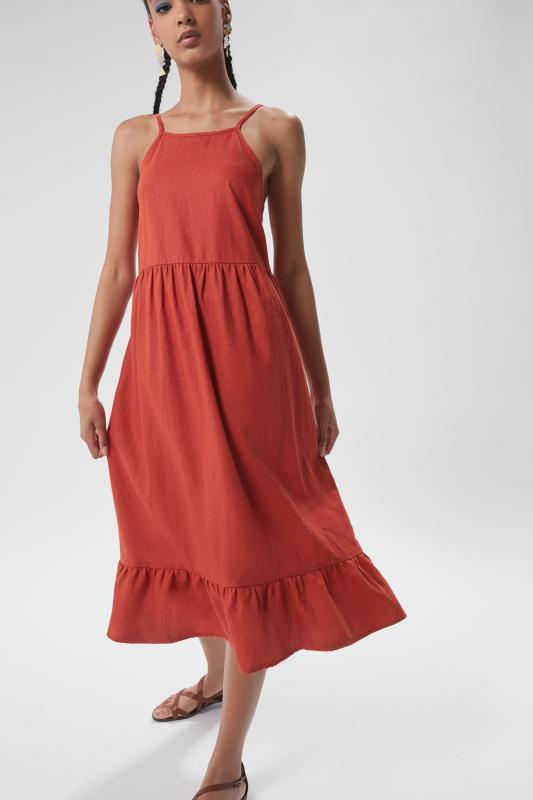 Urban Renewal Urban Renewal Remnants Linen High-Neck Tiered Dress
